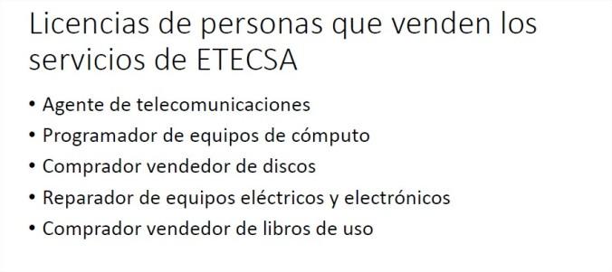 Licencias de personas que venden los servicios de ETECSA